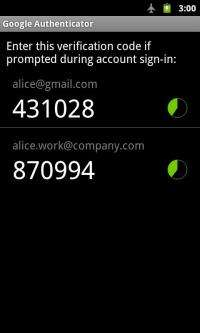 Google Authenticator Screenshoot