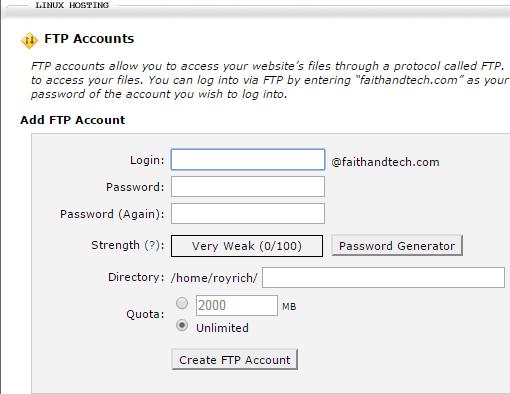 cPanel X - FTP Accounts