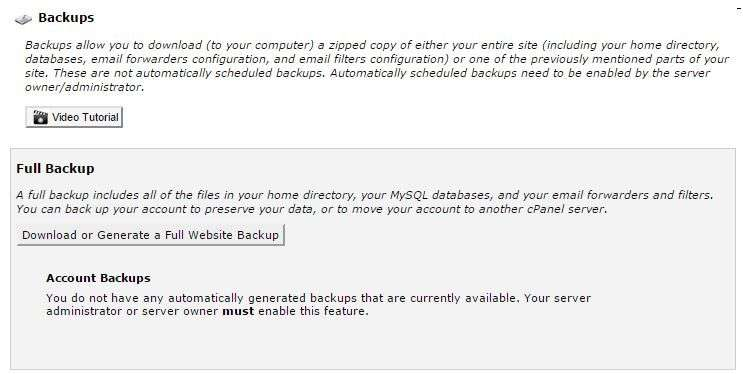Cpanel Backup Screen