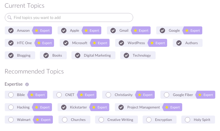 Klout Expert Items