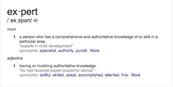 How do you define expert?