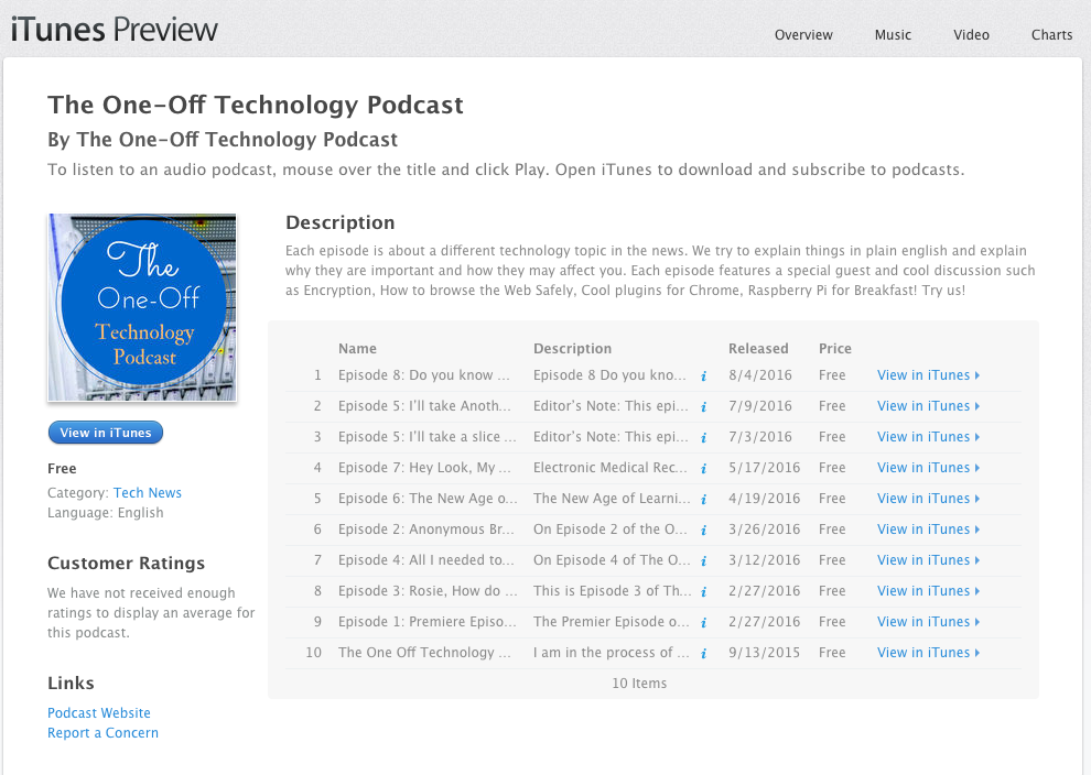 The podcast on iTunes